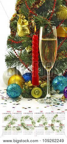 Calendar 2016. Image Of Christmas Decorations And Champagne Glasses Closeup