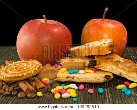 Image Of Different Cookie And Apples Closeup
