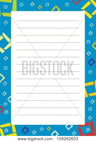 A Page Of Notepad With Decorative Frame