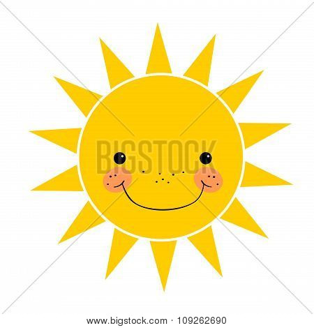 Cute Smiling Sun Isolated On White