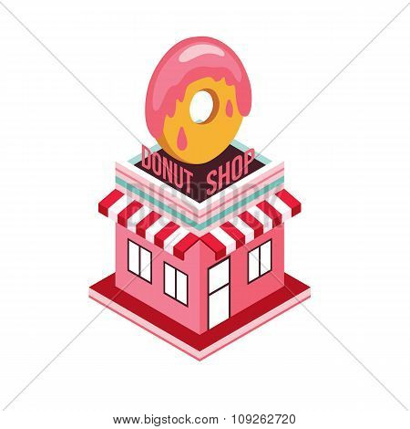 Donut Shop Modern Isometric Flat Design Style Food Shopping Industry