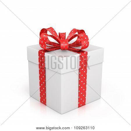 The White Box Wrapped With Red Ribbon With A Bow On A White Background.