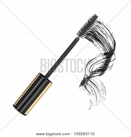 Close Up Of Black Mascara On White Background