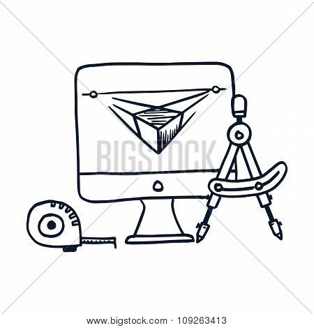 Hand drawn vector illustration icon of development