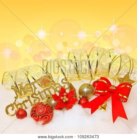 Red Christmas Bow,christmas Balls With Golden Ribbon