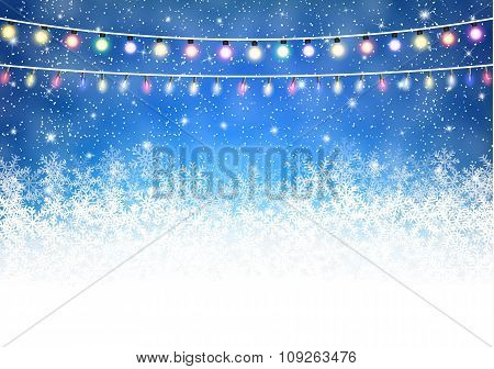 Winter background with shiny lights