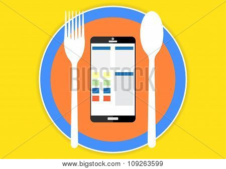 Smart Phone Tablet Computer Display Social Network And Website On A Place With Fork And Spoon Techno