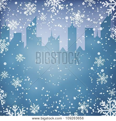 Winter background with city scape silhouette