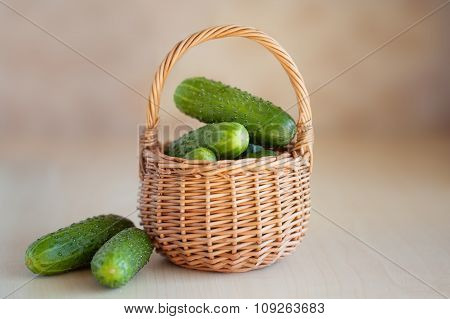 Fresh Cucumbers In A Basket On The Wooden Background
