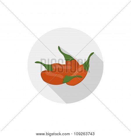 Isolated Flat Icon Of Vegetarian Eating Berries On A White Background. Ripe Goji Berries . Vector