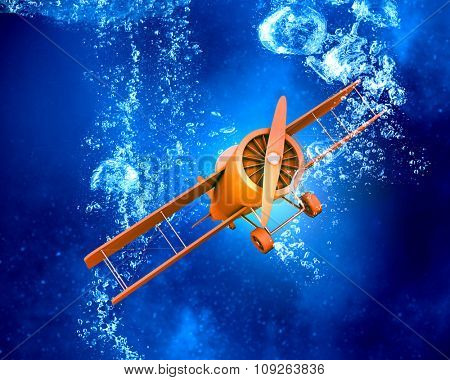 Airplane model in clear blue crystal water