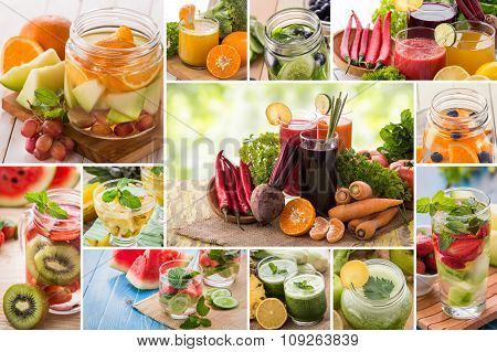 Juices And Infused Waters From Various Tropical Fruit