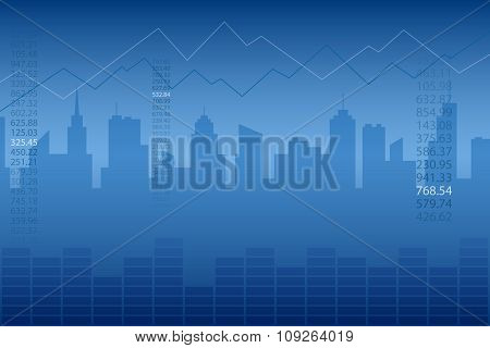 Abstract background city graph blue vector