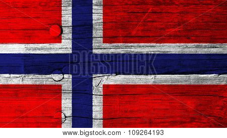 Flag of Norway, Norwegian flag painted on wood texture