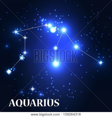 Symbol. Aquarius Zodiac Sign. Vector Illustration.