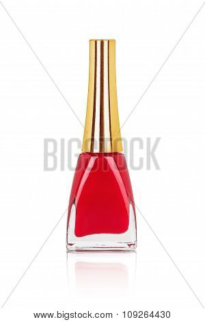 Red Nail Polish With Reflection On An Isolated White Background