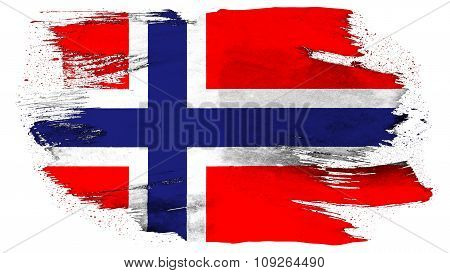 Flag of Norway, Norwegian flag Flags painted with brush on solid background, paint texture