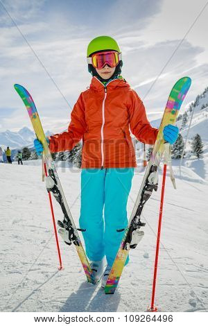Ski, skier girl enjoying winter vacation