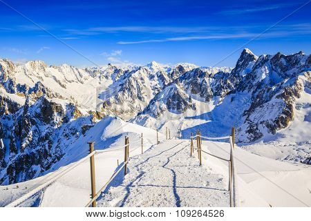 Valle Blanche starting point from the Aiguille du Midi, Mont Blanc, Chamonix