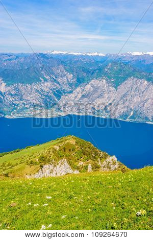Fragment of a nice mountain view Garda Lake from the trail at Monte Baldo in Italy.