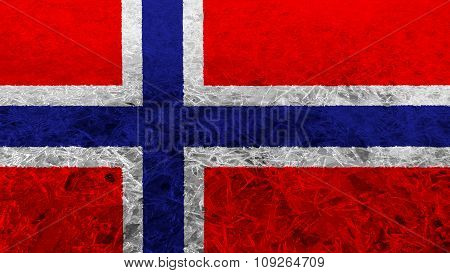Flag of Norway, Norwegian flag painted on ice texture