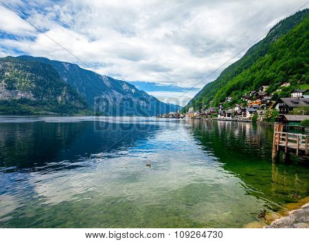mountains in village Hallstatt in the Austrian Alps, region of Salzkammergut