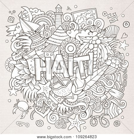 Haiti hand lettering and doodles elements background