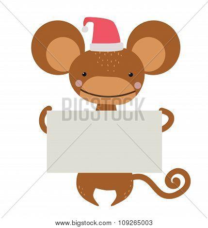 New Year Christmas cartoon monkey Santa hat holding banner