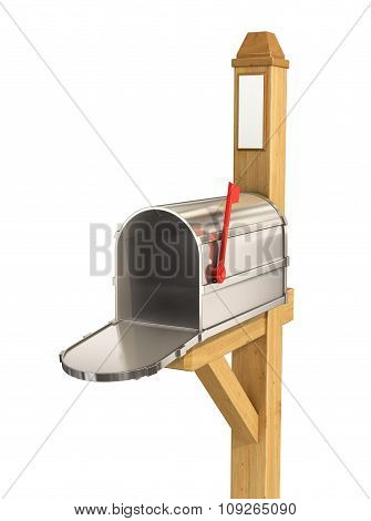 Open  Mailbox, Isolated On White Background