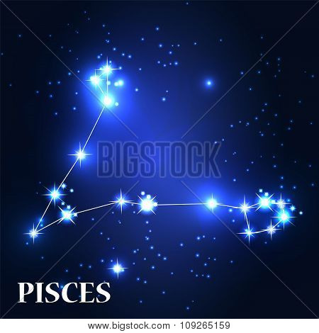Symbol. Pisces Zodiac Sign. Vector Illustration.