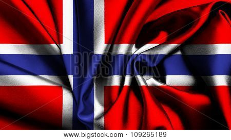 Flag of Norway, Norwegian flag painted on silk texture