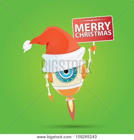 Cartoon Cute Robot with  santa claus red hat.