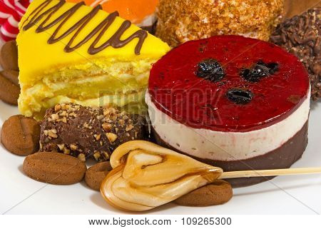 Isolated Image Of Different Delicious Cakes