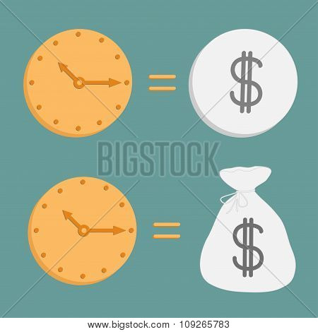 Clock And Dollar Coin And Bag. Icons. Time Is Money.