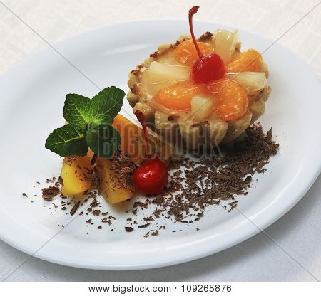 Cake With Peach, Cherry And Mint