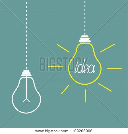 Two Hanging Light Bulbs. Idea Concept.