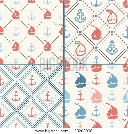Seamless pattern set of anchor, sailboat shape in frame