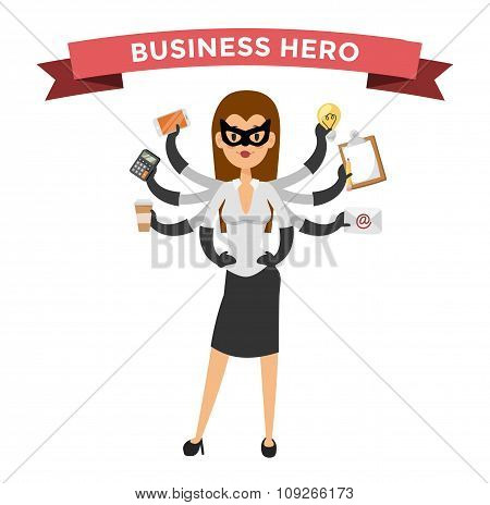 Superhero business woman vector