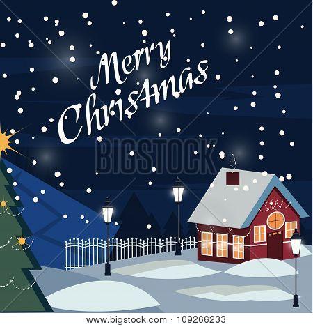 Village At Night. Christmas Greeting Card. Vector Illustration.winter Snow Urban Countryside Landsca