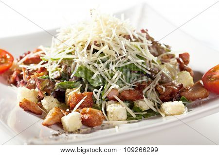 Chicken Salad with Croutons and Parmesan Cheese
