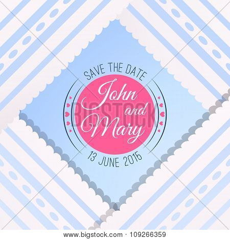 Blue background with vintage realistic pink, blue and white lace
