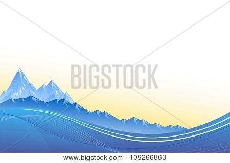 Abstract background landscapes mountains blue sunset vector