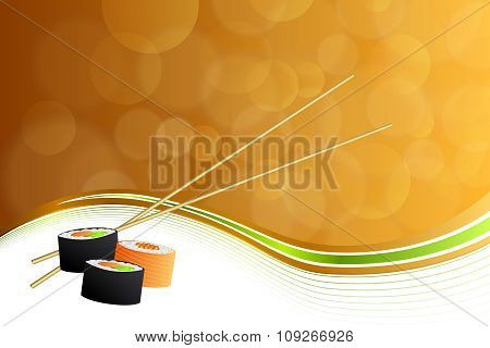 Abstract background food sushi orange yellow frame illustration vector