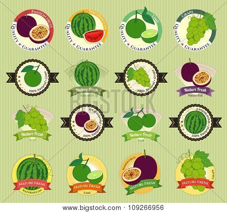 Set Of Various Fresh Fruit And Vegetable Premium Quality Tag Label Badge Sticker And Logo Design