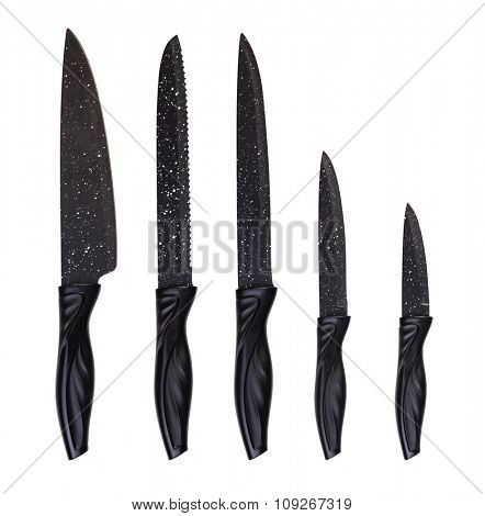 Set of steel kitchen knives, isolated on white