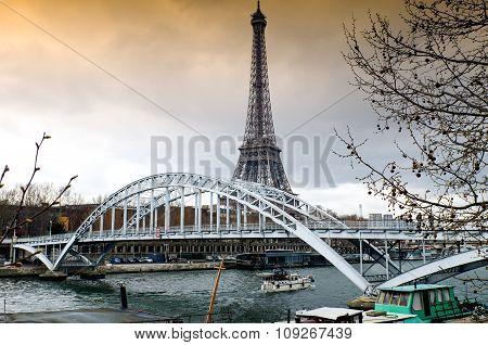 Cloudy Sky On The Eiffel Towerin Paris, France