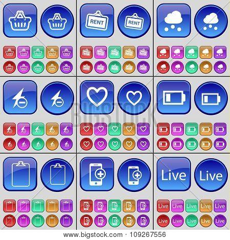 Basket, Rent, Cloud, Flash, Heart, Battery, Survey, Smartphone, Live. A Large Set Of Multi-colored