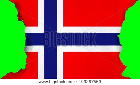 Flag of Norway, Norwegian flag painted on paper texture