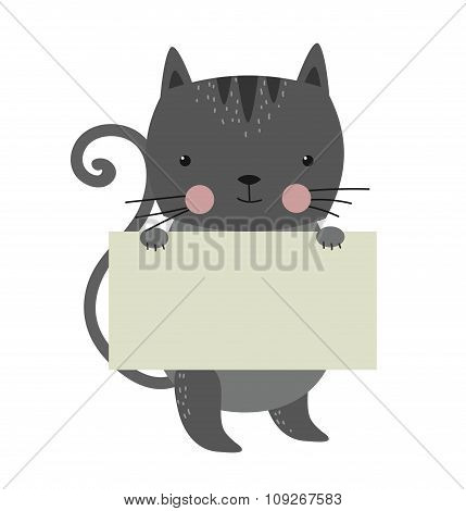 Cat pet animal holding clean welcome white board banner vector cartoon
