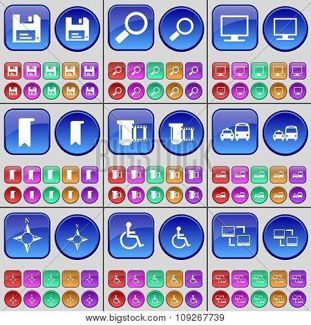 Floppy Disk, Magnifying Glass, Monitor, Marker, Negative Films, Transport, Compass, Disabled
